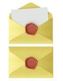 Envelop met rode wasverbinding Stock Fotografie