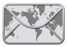 Envelop met wereldkaart Royalty-vrije Stock Foto's