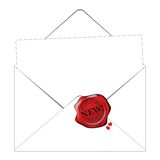 Envelop and paper with a space for your text. 2d vactor stock illustration