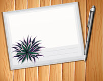 Envelop. With a pen on plank background stock illustration