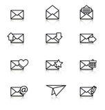 Envelop, vliegtuig, pictogrammen voor e-mail Stock Fotografie