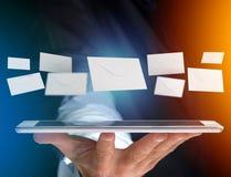 Envelopbericht op een futuristische e-mail 3d die interface wordt getoond - Stock Afbeeldingen