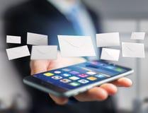 Envelopbericht op een futuristische e-mail 3d die interface wordt getoond - Royalty-vrije Stock Afbeelding