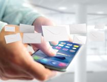 Envelopbericht op een futuristische e-mail 3d die interface wordt getoond - Stock Foto's