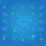 Envelopblauwdruk Reeks berichtpictogrammen Royalty-vrije Stock Afbeelding