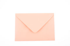 Envelope. Close-ups of orange envelope isolated on white stock image