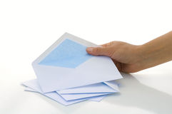 Envelope. Woman wants to write the letter Royalty Free Stock Photos