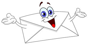 Envelope. Cartoon envelope raising his hands royalty free illustration