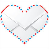 Envelope. White envelope in heart shape royalty free illustration