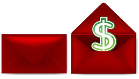 Envelope. Red envelope with dollar sign royalty free illustration