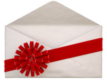 Envelope. Paper envelope with a red ribbon and bow. isolated on white vector illustration