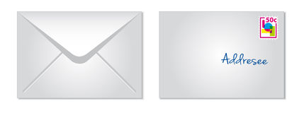 Envelope. White paper envelope with stamp Royalty Free Stock Image