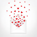 Envelope. Open envelope and hearts. Love letter vector illustration