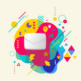 Envelope on abstract colorful spotted background with different Royalty Free Stock Photography