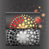 Envelope with abstract flower spheres Stock Photos