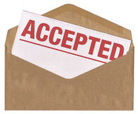 Envelope - Accepted letter. Brown envelope containing letter with accepted statement Stock Photography