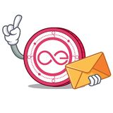 With envelope Aeternity coin character cartoon. Vector illustration Royalty Free Stock Image