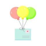 Envelope  air balloon Stock Photos