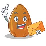 With envelope almond nut character cartoon Royalty Free Stock Photos