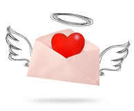Envelope angel wing with big heart. Stock Photography