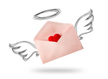 Envelope angel wing with red heart. For valentine day on white background Royalty Free Stock Photography