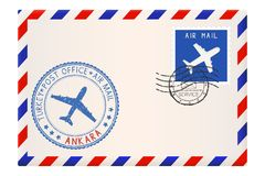 Envelope with Ankara stamp. International mail postage with postmark and stamps. Vector illustration Royalty Free Stock Image
