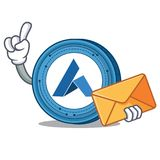 With envelope Ardor coin character cartoon. Vector illustration Royalty Free Stock Photo