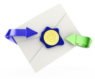 Envelope with arrows and email stamp Stock Photography