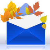 Envelope with autumn foliage Royalty Free Stock Photo