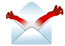 Envelope with bad news. Vector illustration of envelope with funny monster hands coming out isolated on white background. Funny concept of bad news Royalty Free Stock Photo