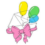 Envelope with balloons and a bow. Greeting cards. Cartoon envelope greeting  illustration  Doodle art Stock Photo