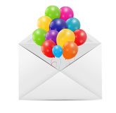 Envelope with Balloons Vector Illustration Stock Images
