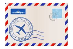 Envelope with BERLIN stamp. International mail postage with postmark and stamps. Vector illustration Royalty Free Stock Photos