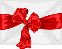Envelope with a big red bow and ribbon Stock Image
