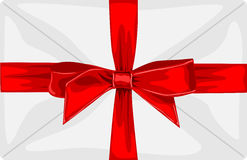 Envelope with a big red bow and ribbon Stock Photo