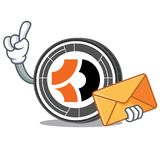 With envelope Bitcoin Dark character cartoon. Vector illustration Stock Image