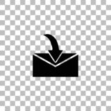 Envelope icon flat. Envelope. Black flat icon on a transparent background. Pictogram for your project vector illustration