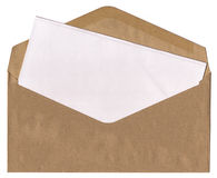 Envelope _ Blank letter. Brown envelope containing blank letter ideal for your own message Royalty Free Stock Images