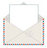 Envelope with blank letter, vector illustration Royalty Free Stock Images