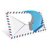 Envelope and blue arrow Stock Photos