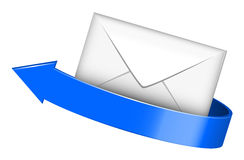 Envelope with blue arrow Stock Photography