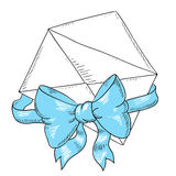 Envelope with blue ribbon and bow. Greeting card. Cartoon envelope greeting  illustration  Doodle art Stock Image