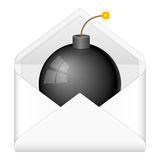 Envelope bomb. Bomb in envelope on a white background Stock Image