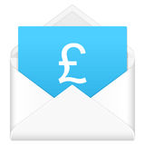 Envelope with british pound symbol Royalty Free Stock Image