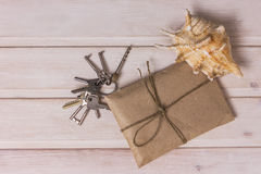 Envelope and bunch of keys Stock Image