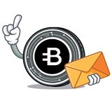 With envelope Bytecoin coin character cartoon. Vector illustration Royalty Free Stock Photos