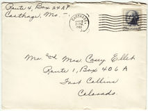 1963 Envelope Cancelled Postage Letter. Front of a letter mailed in 1963.  Cancelled George Washington five cent stamp.  Sent from Carthage, Missouri to Fort Royalty Free Stock Images