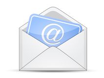 Envelope with card and e-mail sign Stock Photo