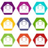 Envelope with card icon set color hexahedron Royalty Free Stock Image