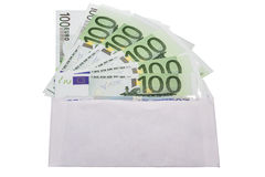 Envelope with cash in euro Royalty Free Stock Photo